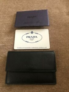 PRADA Credit Card Holder Black Leather with Authenticity Card