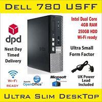 Small Desktop PC DELL Optiplex 780 USFF Dual Core 4GB RAM 250GB HDD Win-10 Wi Fi