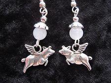Flying Pig  & Moonstone Gemstone Bead Earrings