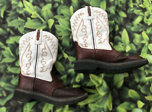 Boys Youth Brown/ White Leather Western Cowboy Boots Size 3 D