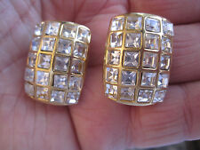 Estate Gold-Tone and Crystal Clip Earrings, Lots of Bling, Minty!