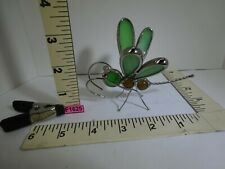 """4"""" Dragonfly Figurine Marble Head And Body Leaded Glass Wings Vintage? F1625"""