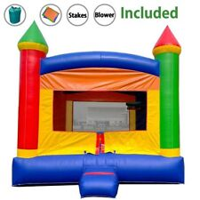 Rainbow Castle Inflatable Bounce House With Blower Outdoor Kids Party Moonwalk