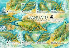 Vanuatu 2013 MNH Orange Spot Filefish 8v M/S WWF Fish Marine Corals Stamps