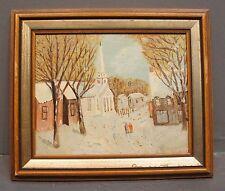 Framed Landscape Oil Painting Winter Snow Scene 2 People Walking in Town Church