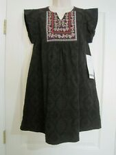 NWT THML Black Textured Lined Embroidered Shift Tunic Dress M