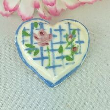 Vintage Ceramic Pottery Button Figural Heart Handmade Hand Painted