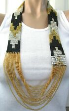 ANDREW STONE Humalayan Nepal Black & Gold Hand Beaded Necklace