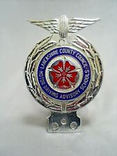 VINTAGE LANCASHIRE COUNTY COUNCIL MOTOR DRIVING ADVISORY SCHOOLS CAR BADGE