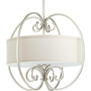 Overbrook Collection 3-Light Silver Ridge Small Pendant with Natural Linen Shade