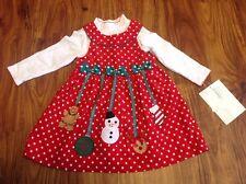 Bonnie Jean Size 24 Month Corduroy Ornamental Christmas Dress W Bodysuit
