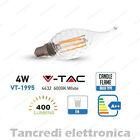 Lampadina led V-TAC 4W = 40W E14 bianco freddo 6000K VT-1995 a fiamma filamento