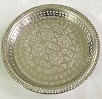 10.2 In Moroccan Handmade Authentic Serving Brass Tea Tray Medium Silver Plated