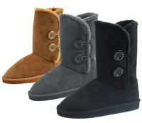 New Women's Winter Boots Faux Suede Fashion Button Mid Calf Warm Fur Shoes Sizes