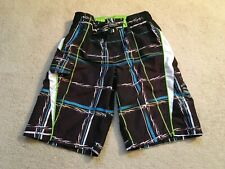 Zero X Posur Swim Trunks-Boy's Size S 8 Black White Blue  NICE!!!!