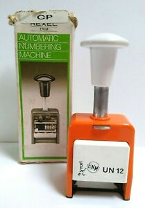 Vintage Rexel-ENM Automatic Numbering Machine-Orange-Original Box-Display-Good
