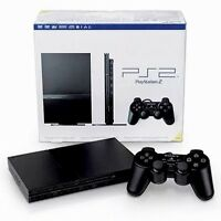 Used Black PlayStation 2 SLIM Gaming Console System PS2 BUNDLE in Good Condition