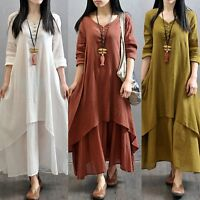 Women Peasant Ethnic Boho Cotton Linen Long Sleeve Maxi Dress Gypsy Blouse Shirt