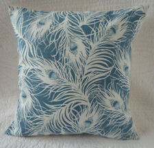 """16"""" inch Cushion Cover Blue Teal Peacock Feather Cotton Print New Handmade 40cm"""