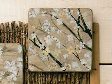 CREATIVE TOPS Set of 4 WHITE BLOSSOM Cork-Backed PREMIUM SQUARE COASTERS