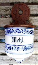 Antike Küchen Porzellan Schütte Wand Mehl Vorratsbehälter Gründerzeit ~1880-1900