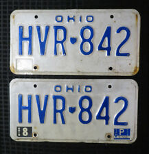 Pair 1980's Ohio License Plates VINTAGE!! Crafts! Collectible! FREE SHIPPING!!!!