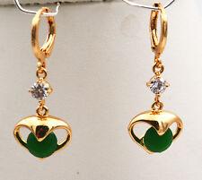 Natural Brazilian Green Emerald Heart 14K Gold / plating Earrings eh-016