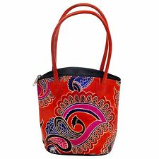 Leather Handmade Mini Tote Bag India Shantiniketan Paisley Banjara Purse Girls