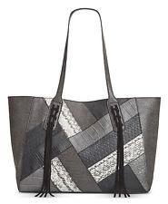 INC International Concepts Handbag Purse Liaa Patchwork Tote Black Snakeskin NWT