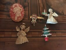 Vintage Lot Christmas Tree Angel Cameo Spille  Natale JJ