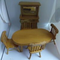 Dolls House Miniatures Welsh Dresser & Table With Chairs