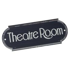 Metal Vintage Navy Blue & White 'Theatre Room' Door Cinema Drama Plaque 20x7.5cm