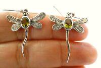 Green Peridot Dragonfly 925 Sterling Silver Dangle Drop Earrings