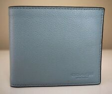 Coach Calf Leather Cloud Blue Double Billfold Wallet F75084