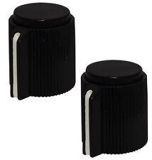 2 boutons de potentiomètre pour axe lisse 6.35mm Ø13x15mm noir en plastique