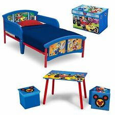 4-Piece Mickey Mouse Toddler Bed Kids Bedroom Set Home Bedding Furniture Toy Kit