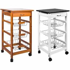3 Tier Kitchen Trolley Cart Basket Storage Drawer Wood Portable Brown White