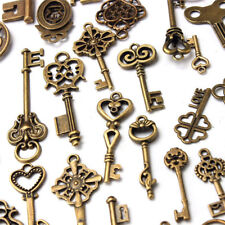 Old LOOK Skeleton Keys Fancy 70pcs/set Antique Vintage Silver Heart Bow Pendant