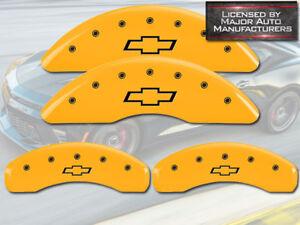 2009-2017 Chevy Traverse Front + Rear Yellow MGP Brake Disc Caliper Cover Bowtie
