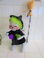 """Annalee Halloween 10"""" Witch Mouse& Frog Squinty Eyes 1 Tooth Lime Green Hair T"""