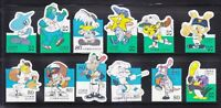 JAPAN 1999 50TH ANNIV. OF PROFESSIONAL BASEBALL LEAGUE COMP. SET 12 STAMPS USED