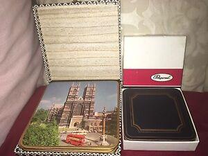 Vintage Set of Cased London Placemats by Win-El-Ware & 6 Set Regal Blue Coasters