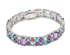 Victoria Wieck 35 ct. Multi Gemstone White Rhodium Bracelet  Sterling Silver