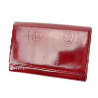 Cartier Wallet Purse Bifold Red Woman Authentic Used Y1833