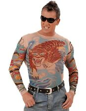 Tiger Dragon Tattoo Shirt Punk Rocker Biker Men's Fancy Dress Costume