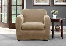 Ultimate Stretch Chenille Two Piece Chair Slipcover tan