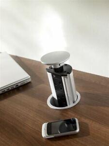 POP PULL UP ELECTRICAL PLUG SOCKET 3 PLUGS 2 USB WORKTOP DESK KITCHEN SILVER