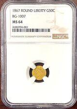 1867 California Fractional Gold Round Liberty BG-1007 NGC MS 64