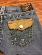 Womens True Religion Jeans Size 27. JOEY Twisted Flare Leather Flap Pocket