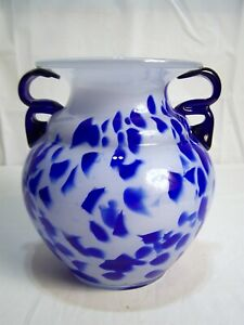 """High quality blown glass Large 9"""" Tall White Blue Glass Flower Water Vase"""